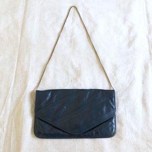 Vintage De Tour dark navy blue leather Crossbody
